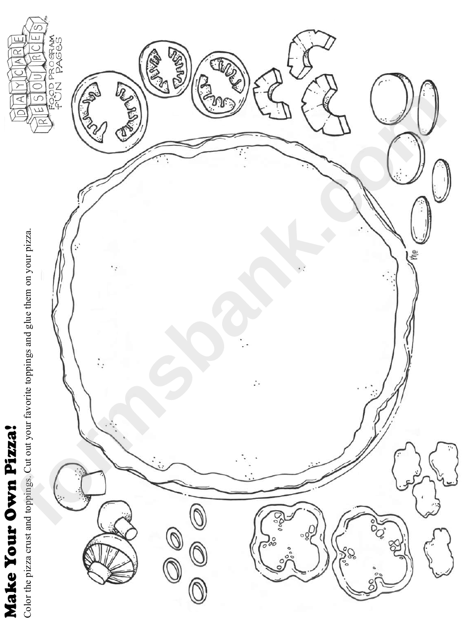 Make Your Own Pizza Kids Activity Sheet printable pdf download