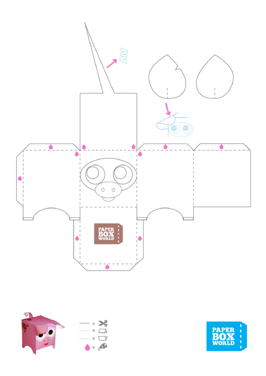 Pig Paper Toy Box Template printable pdf download