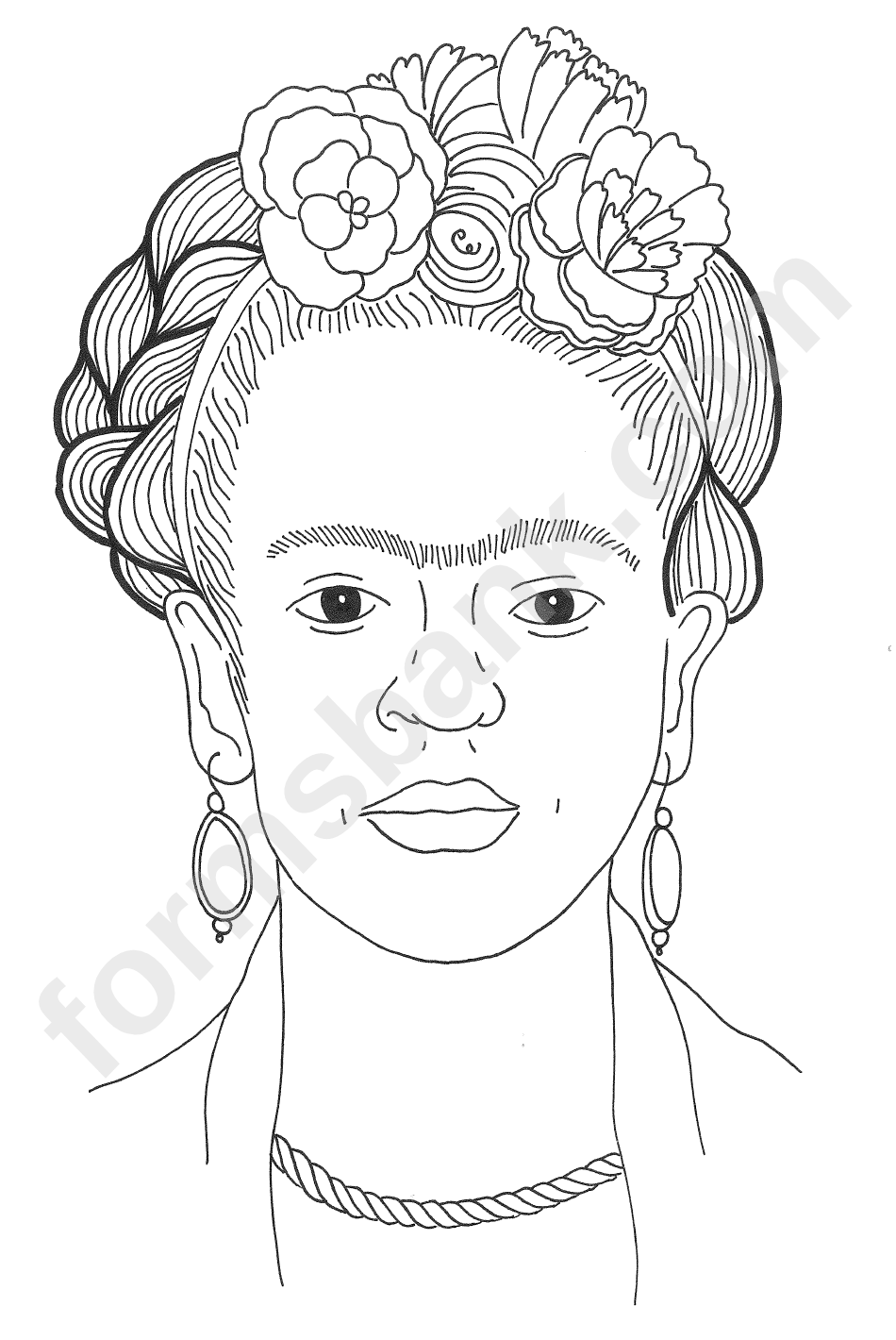 Frida Kahlo Coloring Sheet printable pdf download