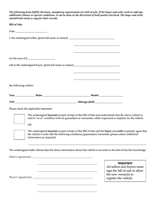 a bill of sale form