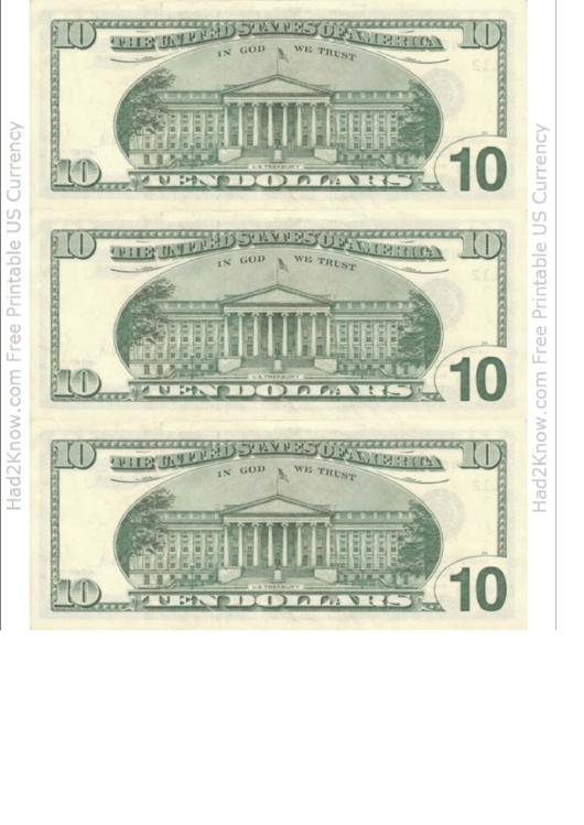 Ten Dollar Bill Template  Back printable pdf download