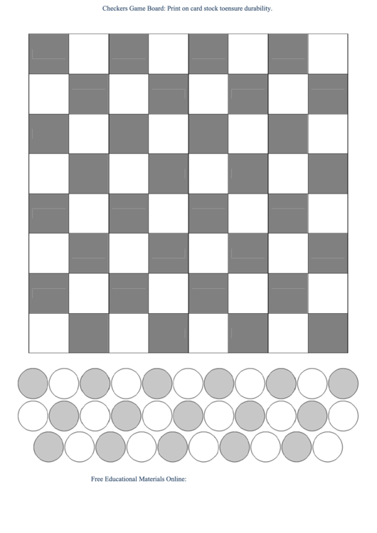 Checkers Game Board Template Bw printable pdf download
