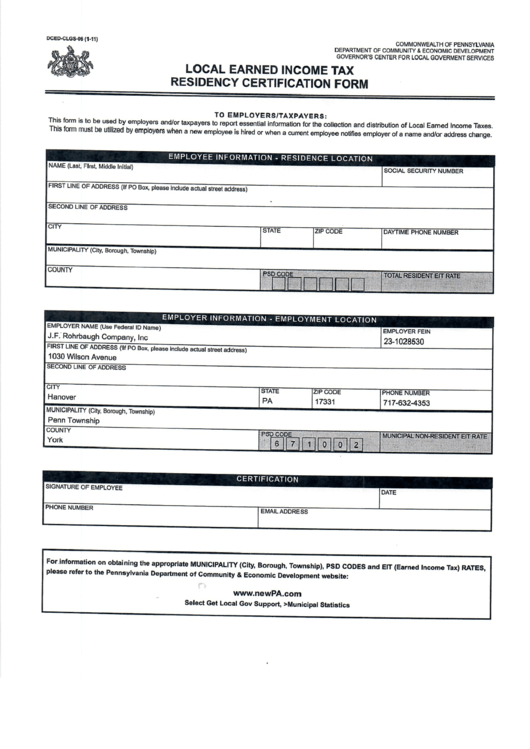 Pa Local Earned Income Tax Residency Certification Form