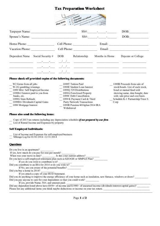 Tax Preparation Worksheet Printable Download