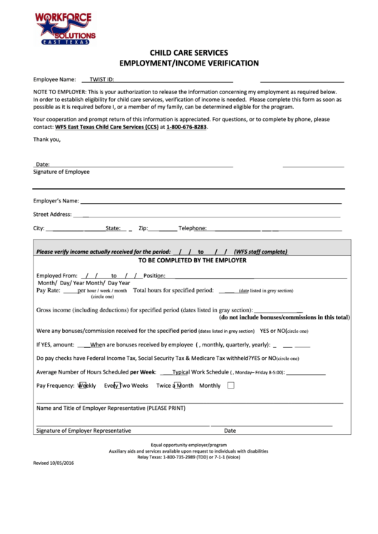 Top 8 Employment Verification Form Texas Templates free to download ...