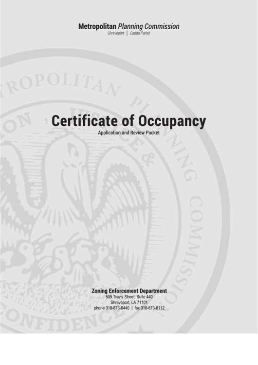 Certificate Of Occupancy Application printable pdf download
