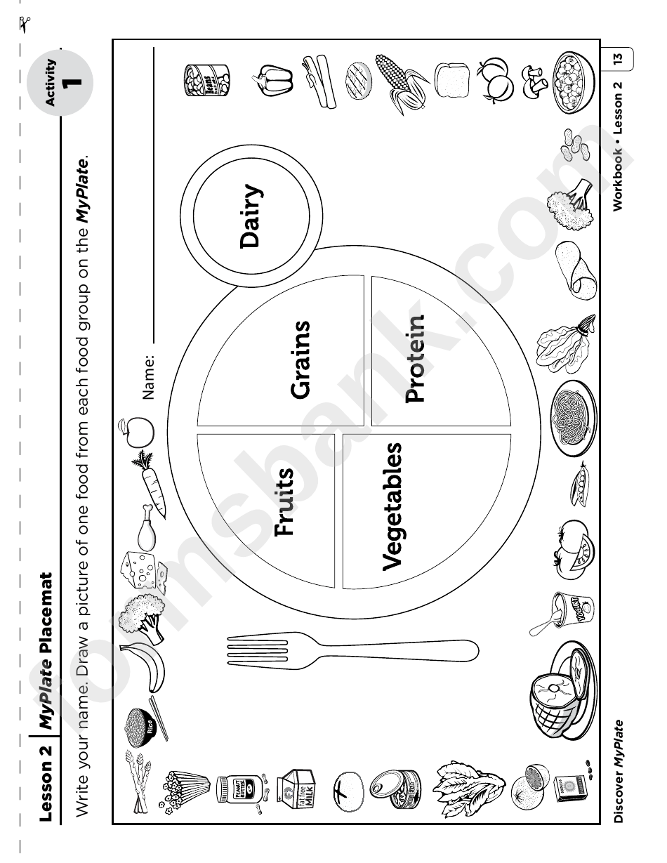 My Plate Placemat Activity printable pdf download