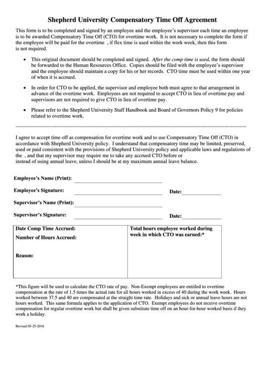 Compensatory Time Off Agreement Template printable pdf