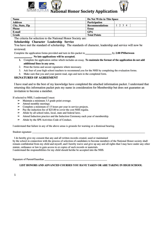 National Honor Society Application Page  In Pdf