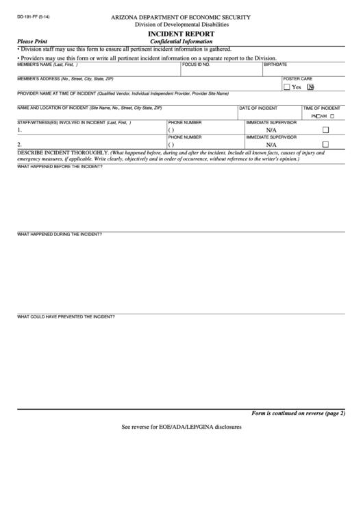 Dd-191-ff - Incident Report - Arizona Department Of Economic ...