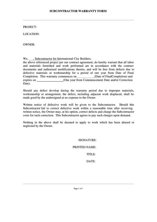 Subcontractor Warranty Form printable pdf download
