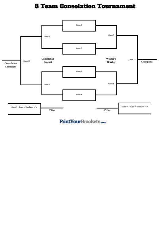 8 Team Consolation Tournament Template printable pdf download