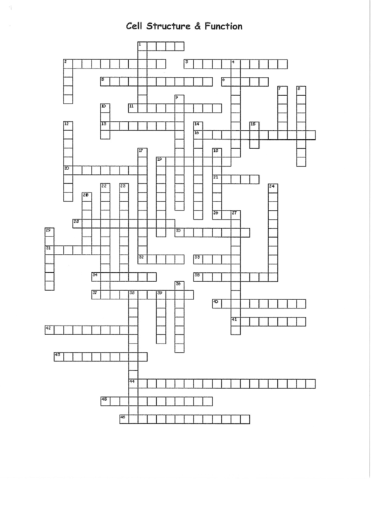 Cell Structure And Function Crossword Puzzle Template