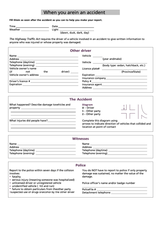 99 Accident Report Form Templates free to download in PDF