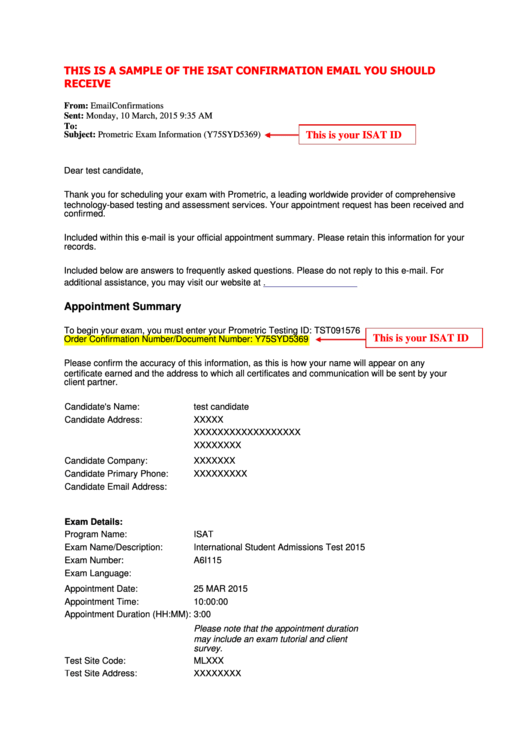 Sample Isat Confirmation Email Template printable pdf download