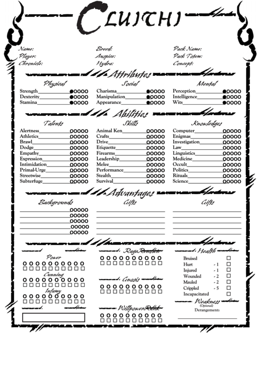 Top Werewolf The Apocalypse Character Sheets free to