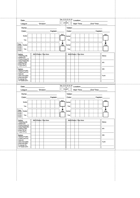 Top Soccer Score Sheets free to download in PDF format