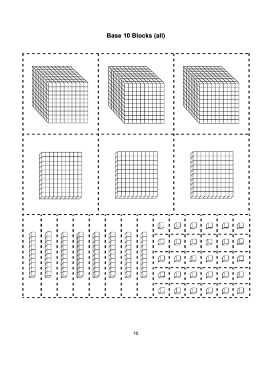 Base 10 Blocks (All) Template printable pdf download