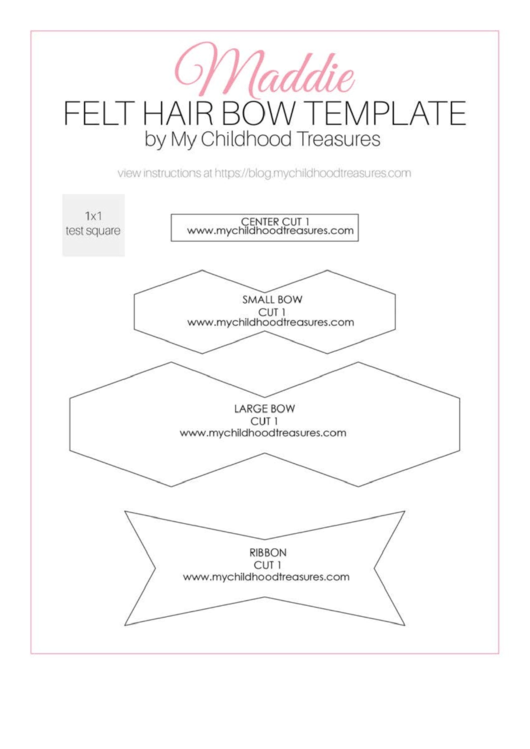 Felt Hair Bow Template printable pdf download