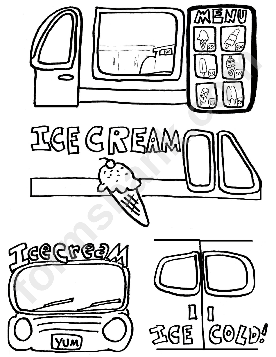 Ice Cream Truck Template printable pdf download