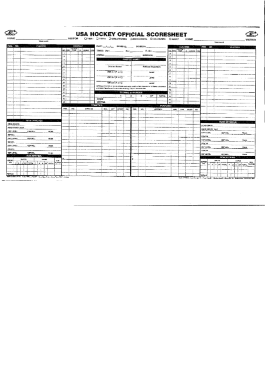 Usa Hockey Score Sheet printable pdf download