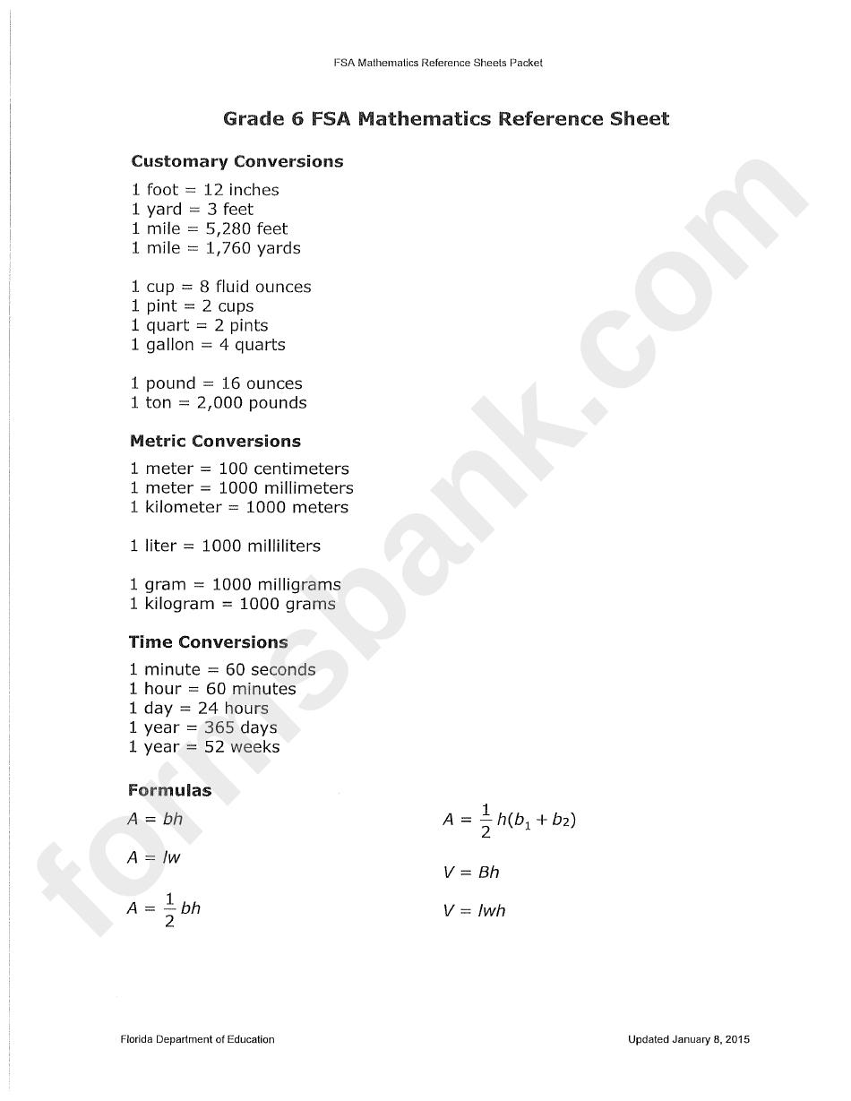 medium resolution of Grade 6 Fsa Mathematics Reference Sheet printable pdf download