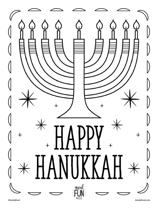 Happy Hanukkah Coloring Sheet printable pdf download
