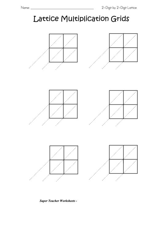 Lattice Multiplication Grids Template Printable Download