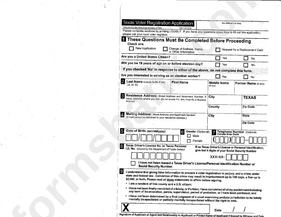 Texas Voter Registration Application printable pdf download