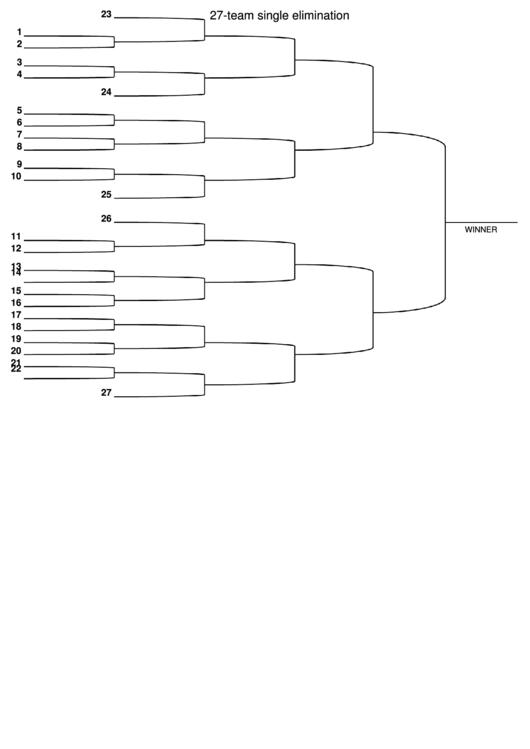 27 Team Single Elimination Bracket printable pdf download