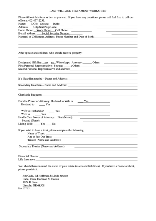 53 Last Will And Testament Form Templates Free To Download