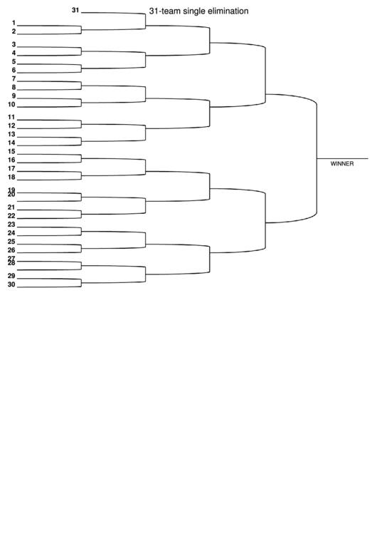 31 Team Single Elimination Bracket printable pdf download