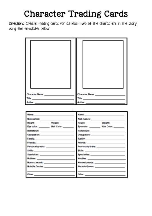 2 Trading Card Templates free to download in PDF