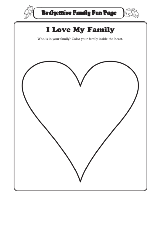 I Love My Family Heart Coloring Sheet printable pdf download