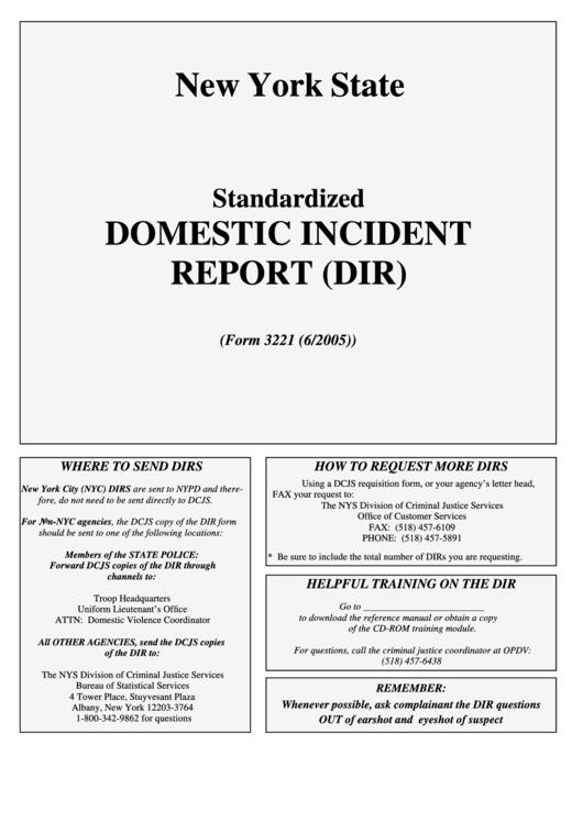 Domestic Incident Report printable pdf download