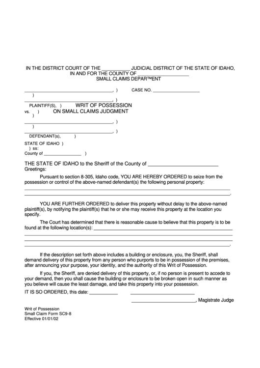 Small Claim Form Sc9-8 Writ Of Possession printable pdf download