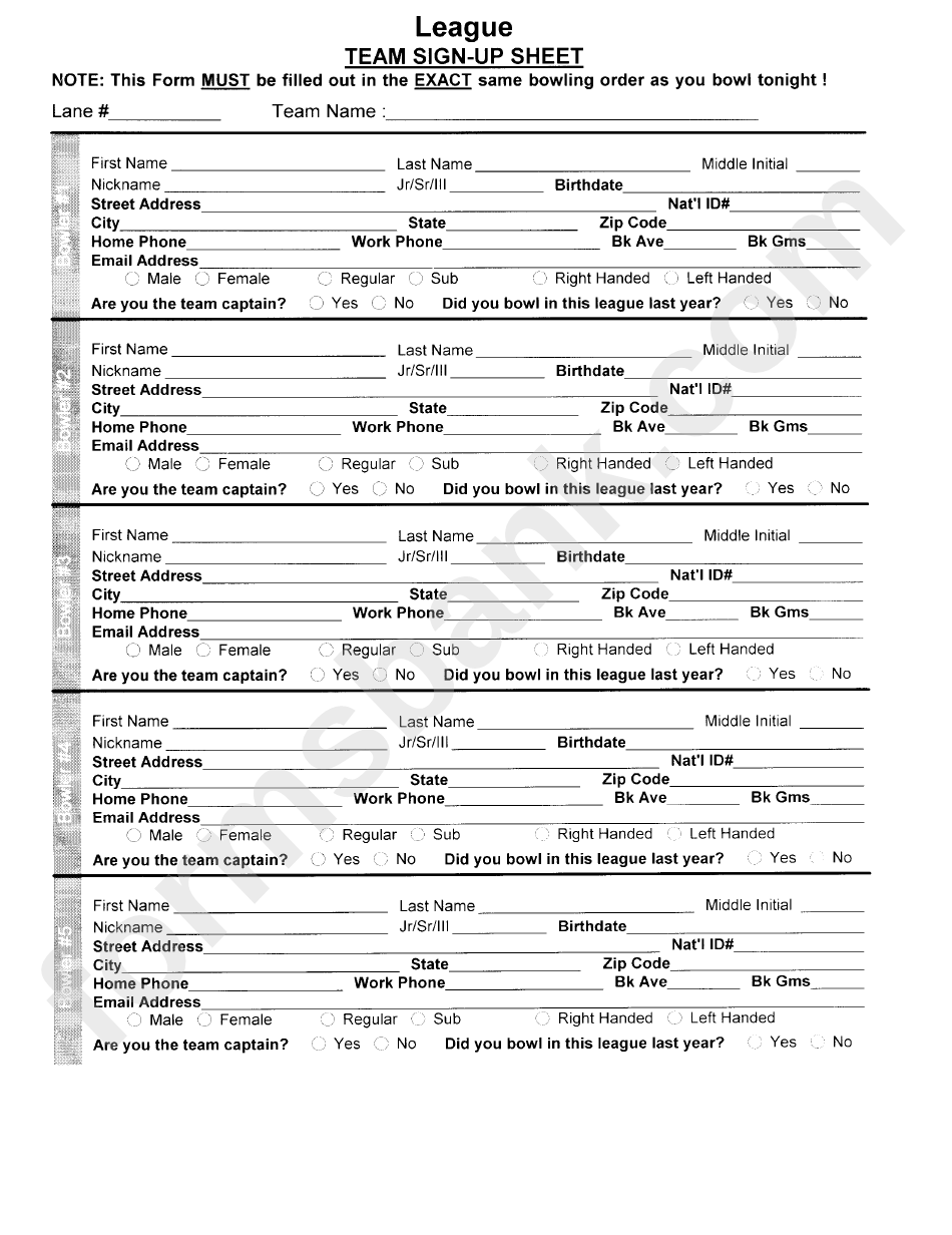 Bowling League Team Sign-Up Sheet printable pdf download