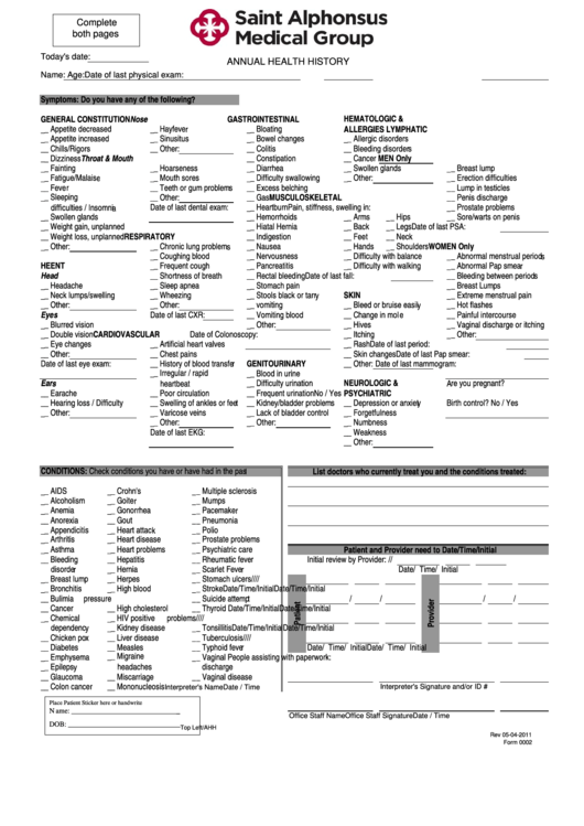Adult Annual Health History Form printable pdf download