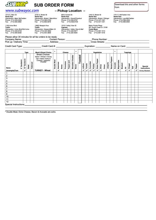 Subway Order Form printable pdf download