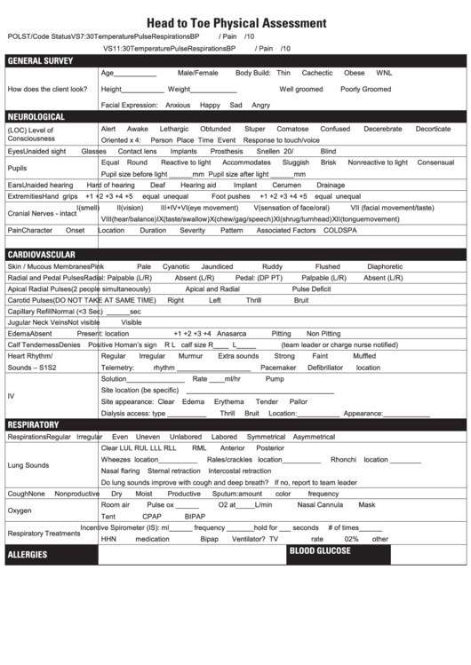 Head To Toe Physical Assessment Form printable pdf download