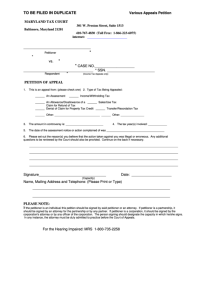 Petition Of Appeal - Various Appeals Petition - Maryland ...