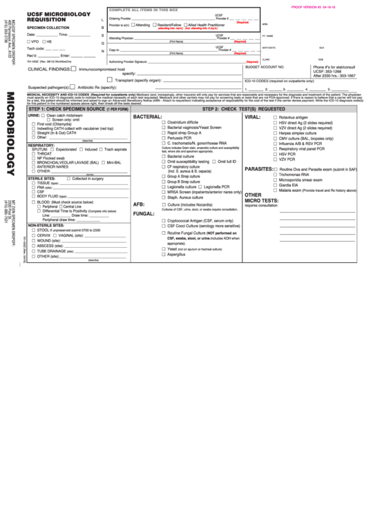 Ucsf Microbiology Requisition Form printable pdf download