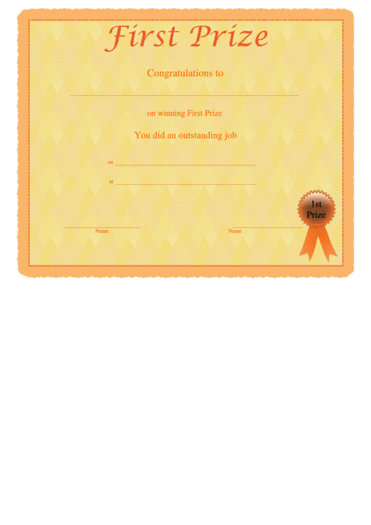 First Prize Certificate Template printable pdf download