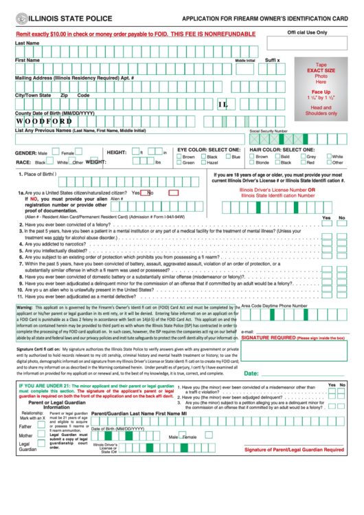 Illinois Foid Card Application Printable : illinois, application, printable, Fillable, Application, Firearm, Owner'S, Identification, Illinois, State, Police, Printable, Download