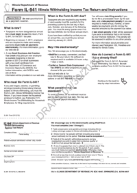 Form Il-941 - Illinois Withholding Income Tax Return And ...
