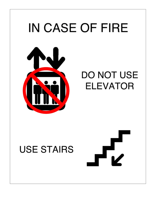 In Case Of Fire Sign Template printable pdf download
