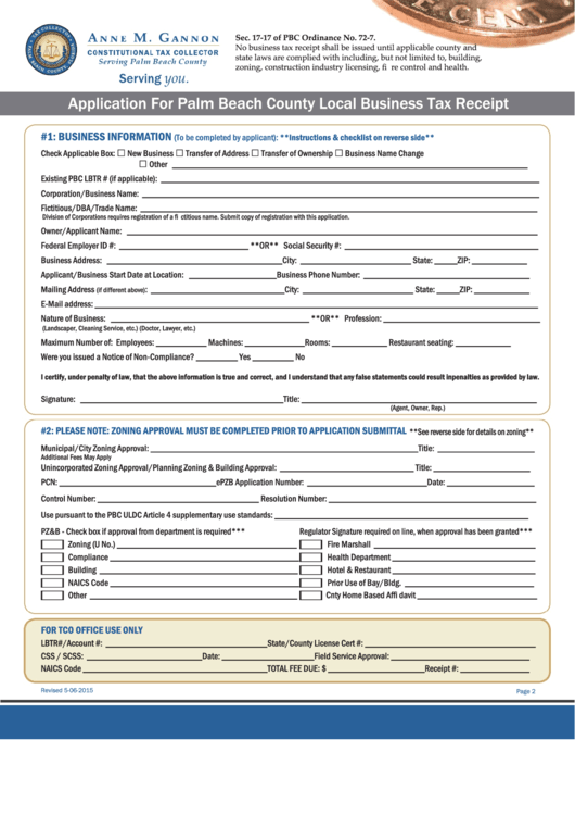Fillable Application For Palm Beach County Local Business