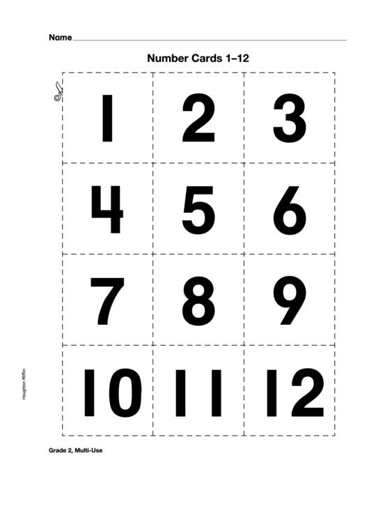 Number Cards 1-12 Template printable pdf download