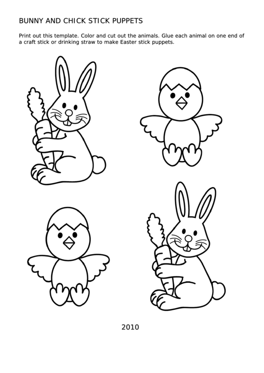 Bunny And Chick Stick Puppets Template printable pdf download