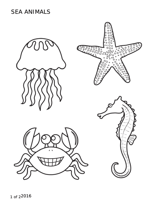 Sea Animals Coloring Sheet printable pdf download